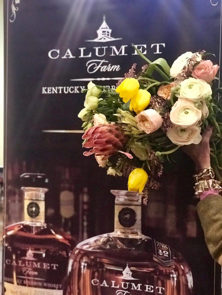 Calumet Farms bourbon & Roiann Ridley bouquet